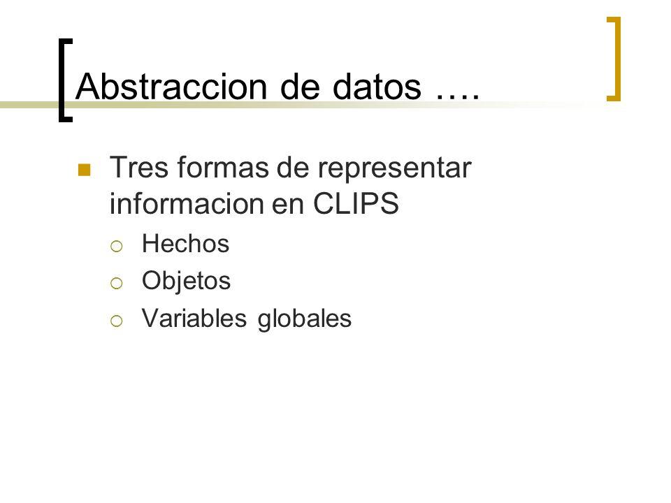 Abstraccion de datos …. Tres formas de representar informacion en CLIPS Hechos Objetos Variables globales