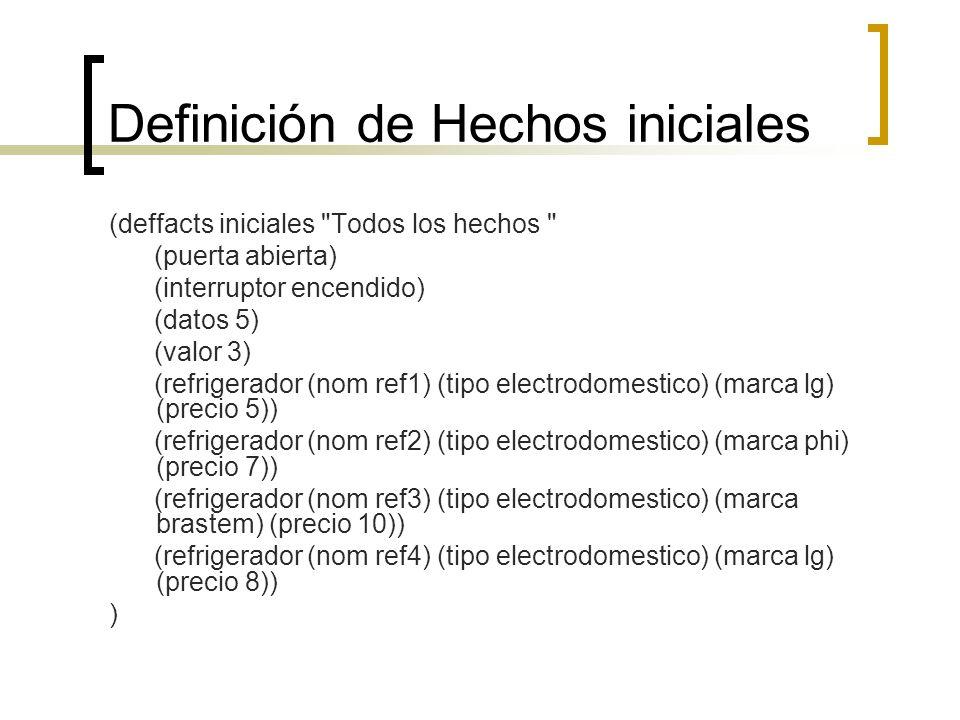Definición de Hechos iniciales (deffacts iniciales