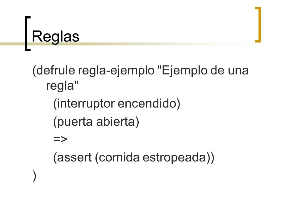 Reglas (defrule regla-ejemplo