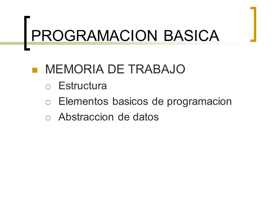 PROGRAMACION BASICA MEMORIA DE TRABAJO Estructura Elementos basicos de programacion Abstraccion de datos