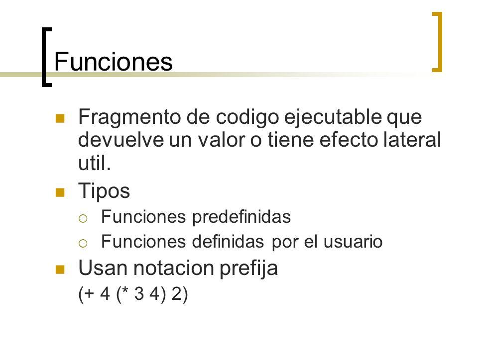 Funciones Fragmento de codigo ejecutable que devuelve un valor o tiene efecto lateral util. Tipos Funciones predefinidas Funciones definidas por el us