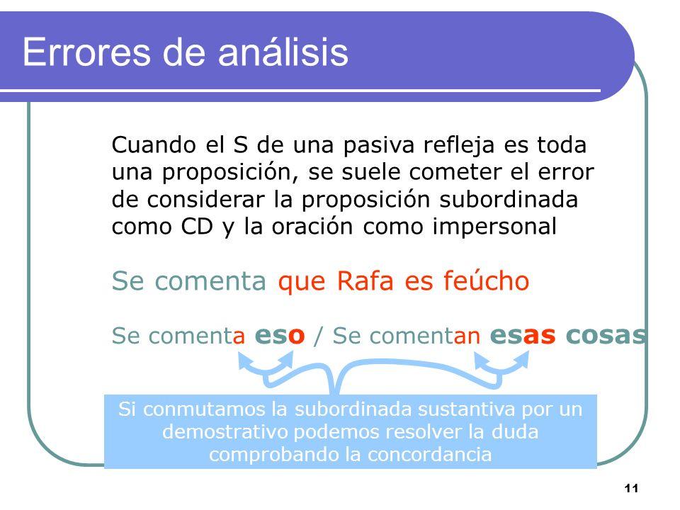 10 Confusión impersonal / pasiva Construcción intransitiva CD precedido de a No hay concordancia entre el elemento nominal y el verbo Puede haber CAg