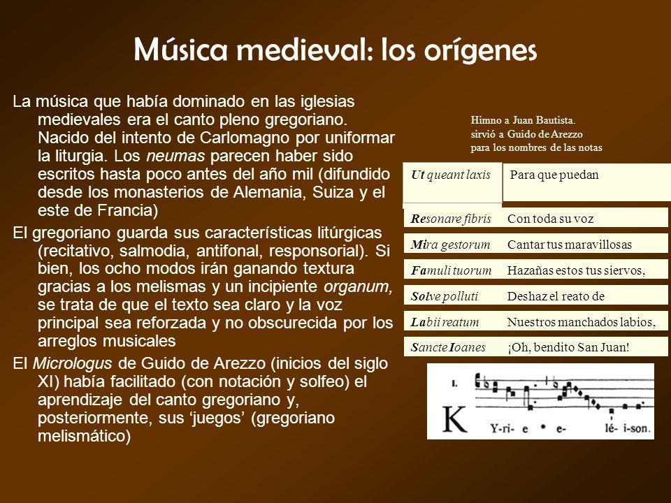 Música medieval: los orígenes La música que había dominado en las iglesias medievales era el canto pleno gregoriano. Nacido del intento de Carlomagno