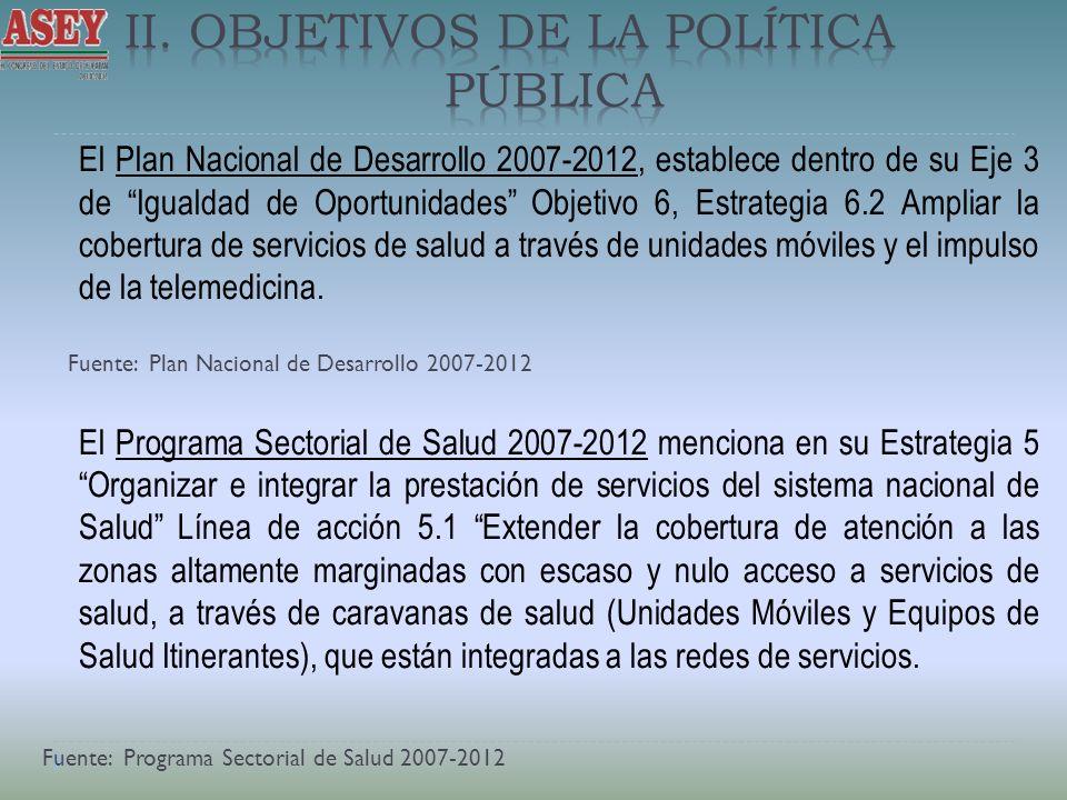El Plan Nacional de Desarrollo 2007-2012, establece dentro de su Eje 3 de Igualdad de Oportunidades Objetivo 6, Estrategia 6.2 Ampliar la cobertura de