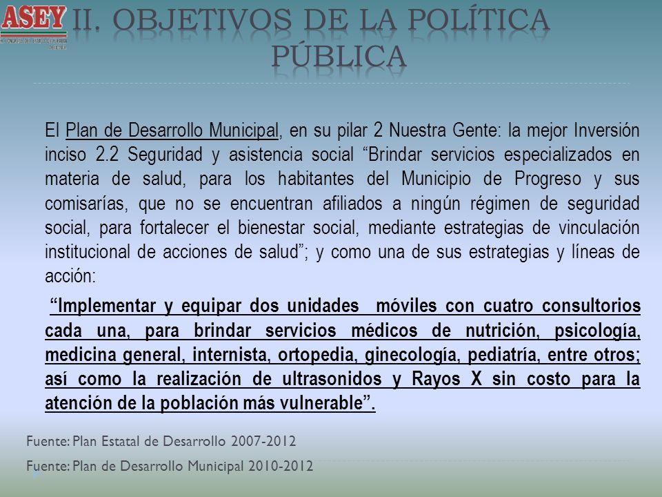 El Plan de Desarrollo Municipal, en su pilar 2 Nuestra Gente: la mejor Inversión inciso 2.2 Seguridad y asistencia social Brindar servicios especializ