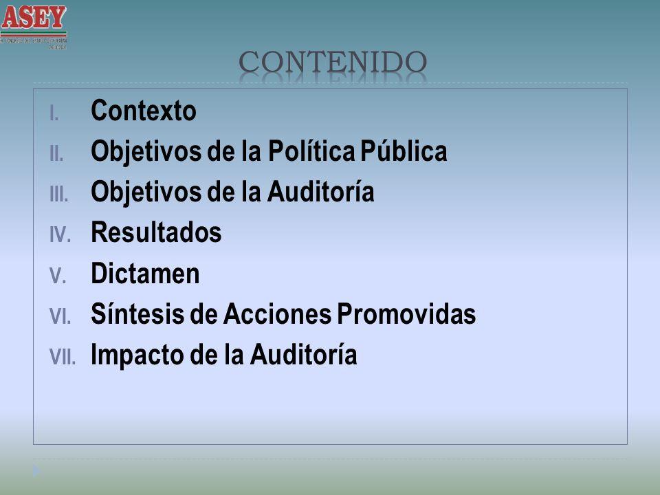 I. Contexto II. Objetivos de la Política Pública III. Objetivos de la Auditoría IV. Resultados V. Dictamen VI. Síntesis de Acciones Promovidas VII. Im