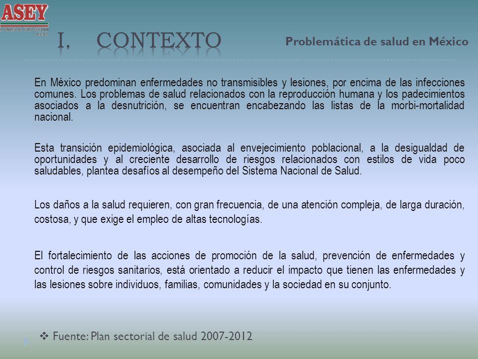 En México predominan enfermedades no transmisibles y lesiones, por encima de las infecciones comunes. Los problemas de salud relacionados con la repro
