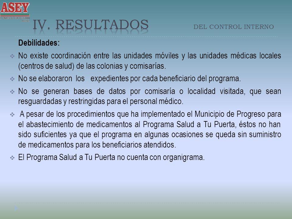 Debilidades: No existe coordinación entre las unidades móviles y las unidades médicas locales (centros de salud) de las colonias y comisarías. No se e