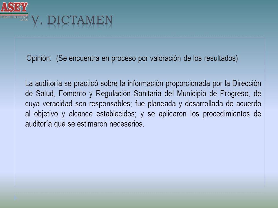 Opinión: (Se encuentra en proceso por valoración de los resultados) La auditoría se practicó sobre la información proporcionada por la Dirección de Sa