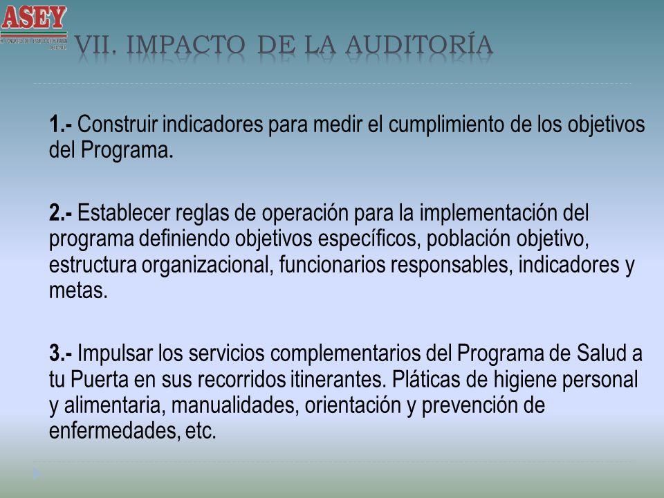 1.- Construir indicadores para medir el cumplimiento de los objetivos del Programa. 2.- Establecer reglas de operación para la implementación del prog