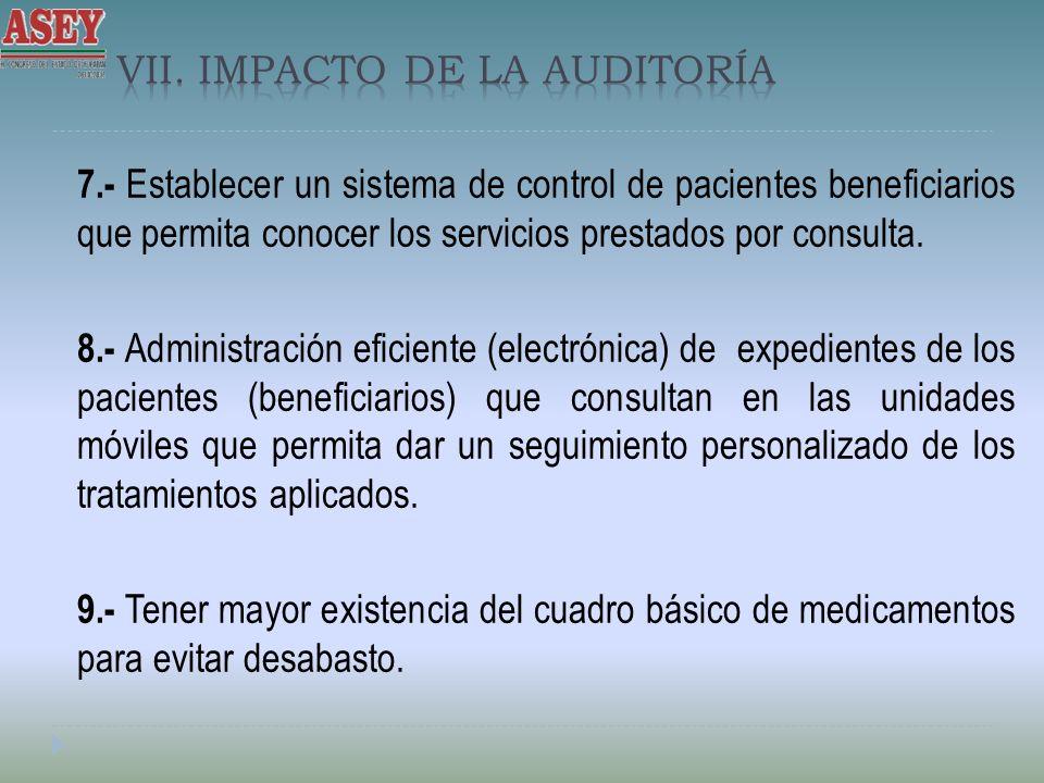 7.- Establecer un sistema de control de pacientes beneficiarios que permita conocer los servicios prestados por consulta. 8.- Administración eficiente