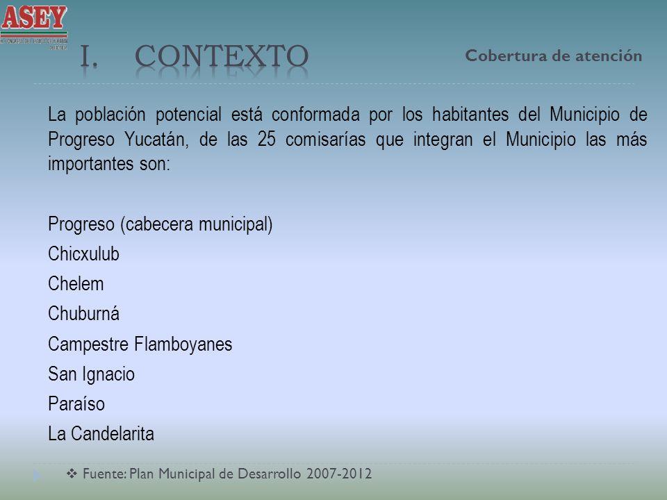 La población potencial está conformada por los habitantes del Municipio de Progreso Yucatán, de las 25 comisarías que integran el Municipio las más im