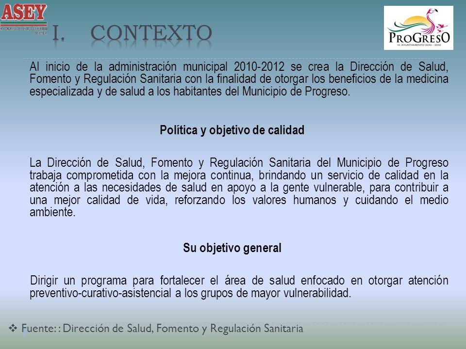 Al inicio de la administración municipal 2010-2012 se crea la Dirección de Salud, Fomento y Regulación Sanitaria con la finalidad de otorgar los beneficios de la medicina especializada y de salud a los habitantes del Municipio de Progreso.