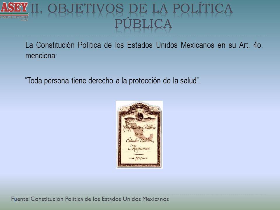 La Constitución Política de los Estados Unidos Mexicanos en su Art. 4o. menciona: Toda persona tiene derecho a la protección de la salud. Fuente: Cons