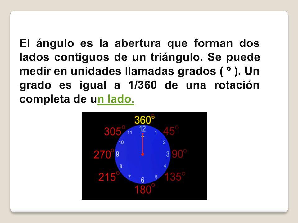 El ángulo es la abertura que forman dos lados contiguos de un triángulo. Se puede medir en unidades llamadas grados ( º ). Un grado es igual a 1/360 d