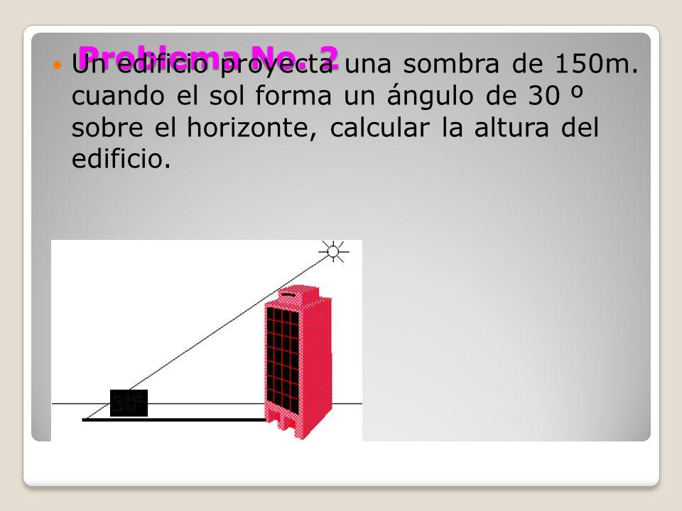 Problema No. 2 Un edificio proyecta una sombra de 150m. cuando el sol forma un ángulo de 30 º sobre el horizonte, calcular la altura del edificio.