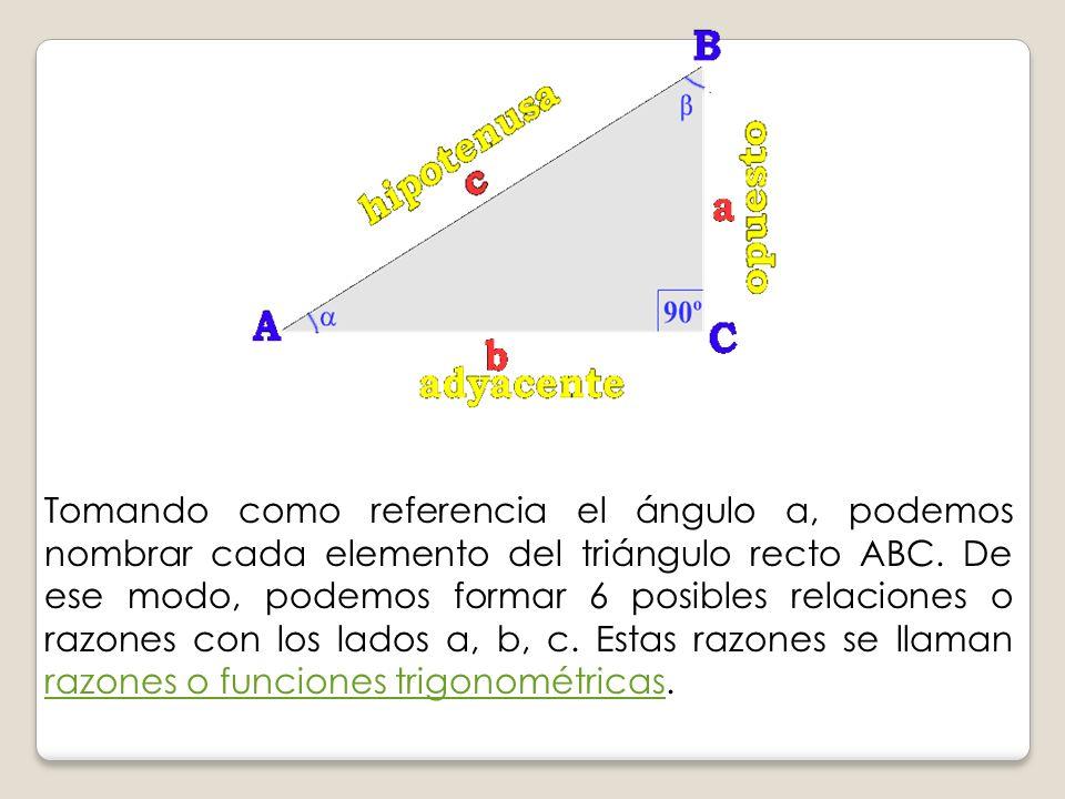 Tomando como referencia el ángulo a, podemos nombrar cada elemento del triángulo recto ABC. De ese modo, podemos formar 6 posibles relaciones o razone