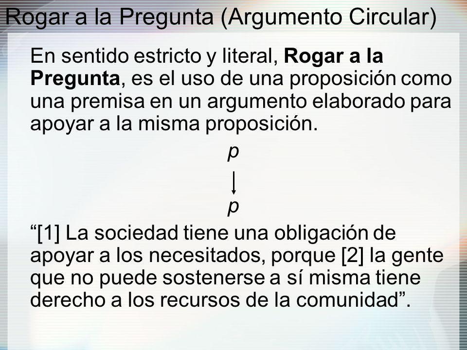 Rogar a la Pregunta (Argumento Circular) En sentido estricto y literal, Rogar a la Pregunta, es el uso de una proposición como una premisa en un argumento elaborado para apoyar a la misma proposición.