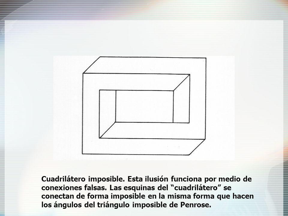 Cuadrilátero imposible.Esta ilusión funciona por medio de conexiones falsas.