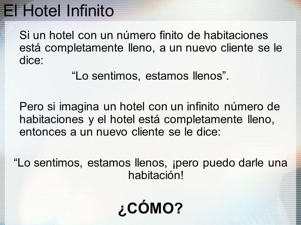 El Hotel Infinito Si un hotel con un número finito de habitaciones está completamente lleno, a un nuevo cliente se le dice: Lo sentimos, estamos llenos.