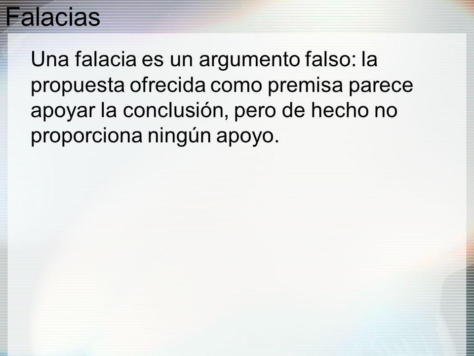 Falacias Una falacia es un argumento falso: la propuesta ofrecida como premisa parece apoyar la conclusión, pero de hecho no proporciona ningún apoyo.