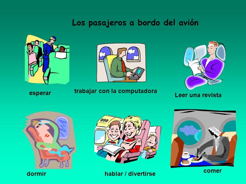 Los pasajeros a bordo del avión trabajar con la computadora Leer una revista dormirhablar / divertirse esperar comer