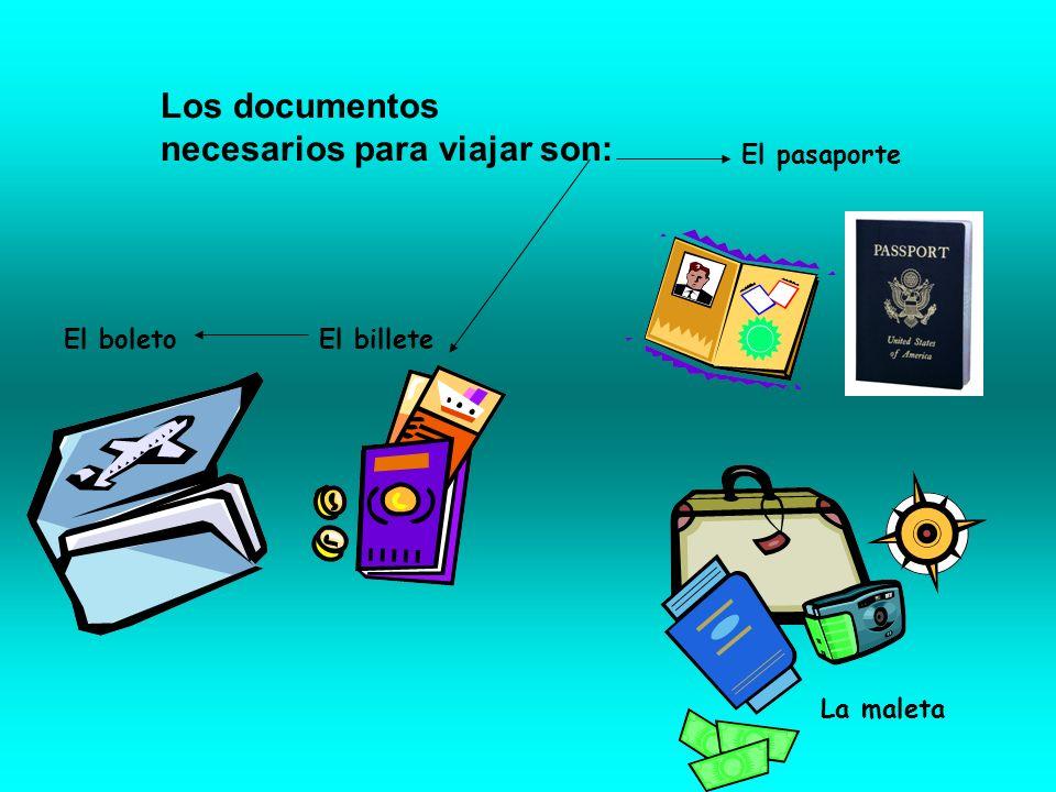 El billete El pasaporte La maleta Los documentos necesarios para viajar son: El boleto