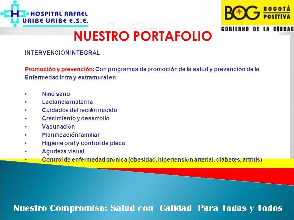 NUESTRO PORTAFOLIO UNIDADES INTEGRALES E INTEGRADAS CONSULTA MEDICA GENERAL CONSULTA DE ENFERMERIA CONSULTA EN ODONTOLOGIA (ENDODONCIA, CIRUGIA, EXODONCIA, OPERATORIAY APOYO DIAGN Ó STICO) OPTOMETRIA SERVICIOS DE REHABILITACI Ó N (FISICA, LENGUAJE, RESPIRATORIA Y OCUPACIONAL) URGENCIAS 24 HORAS SERVICIOS DE AMBULANCIA DE BAJA COMPLEJIDAD HOSPITALIZACI Ó N DE BAJA COMPLEJIDAD ATENCI Ó N INTEGRAL DE PARTO DE BAJA COMPLEJIDAD SALUD MENTAL CENTRO DE ESCUCHASERVICO DE PSICOLOG Í A (SALUD MENTAL (ATENCI Ó N INTEGRAL A VICTIMAS DE MALTRATO A LA MUJER, VIOLENCIA INTRAFAMILIAR, AL MENORY DELITOS), CENTRO DE ESCUCHA( ASESORIA AL INDIVIDUO Y SU FAMILIA) SERVICIO DE FARMACIA O DISPENSACI Ó N EN MEDICAMENTOS AMBULATORIOS 24 HORAS.