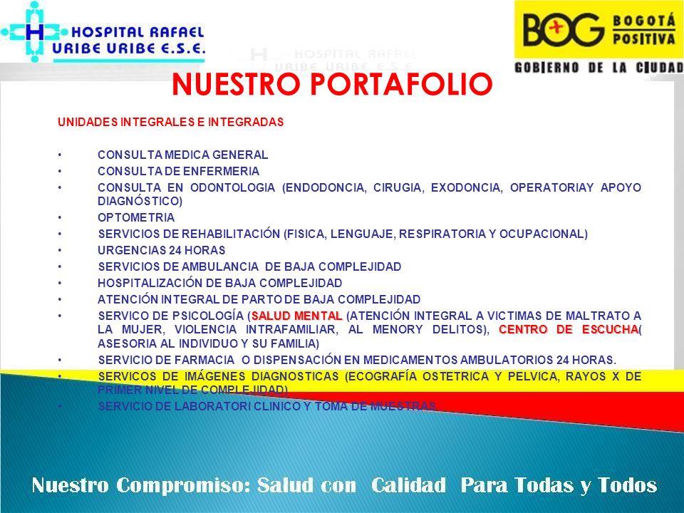NUESTRO PORTAFOLIO UNIDADES INTEGRALES E INTEGRADAS CONSULTA MEDICA GENERAL CONSULTA DE ENFERMERIA CONSULTA EN ODONTOLOGIA (ENDODONCIA, CIRUGIA, EXODO