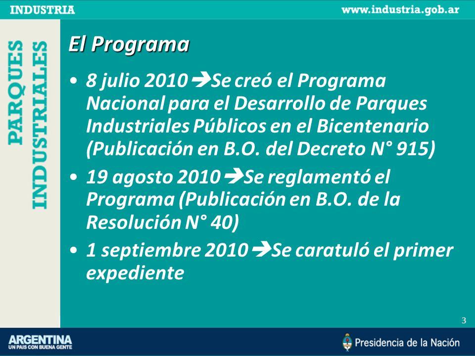 3 El Programa 8 julio 2010 Se creó el Programa Nacional para el Desarrollo de Parques Industriales Públicos en el Bicentenario (Publicación en B.O. de