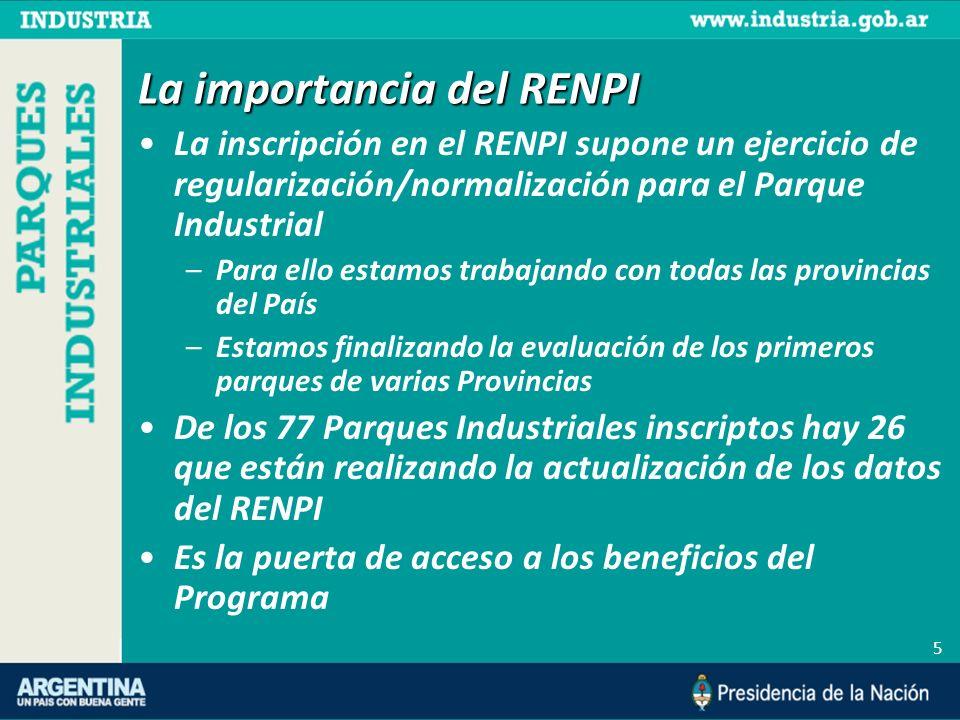 5 La importancia del RENPI La inscripción en el RENPI supone un ejercicio de regularización/normalización para el Parque Industrial –Para ello estamos