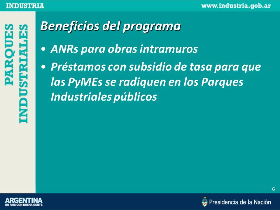 Beneficios del programa ANRs para obras intramuros Préstamos con subsidio de tasa para que las PyMEs se radiquen en los Parques Industriales públicos