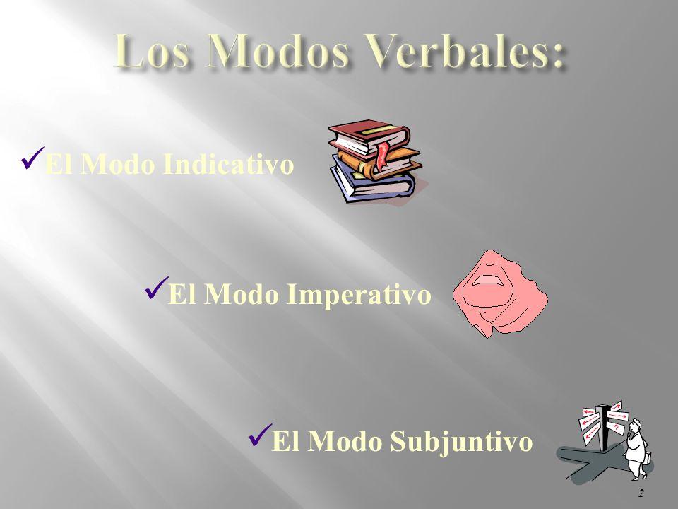 2 El Modo Subjuntivo El Modo Imperativo El Modo Indicativo