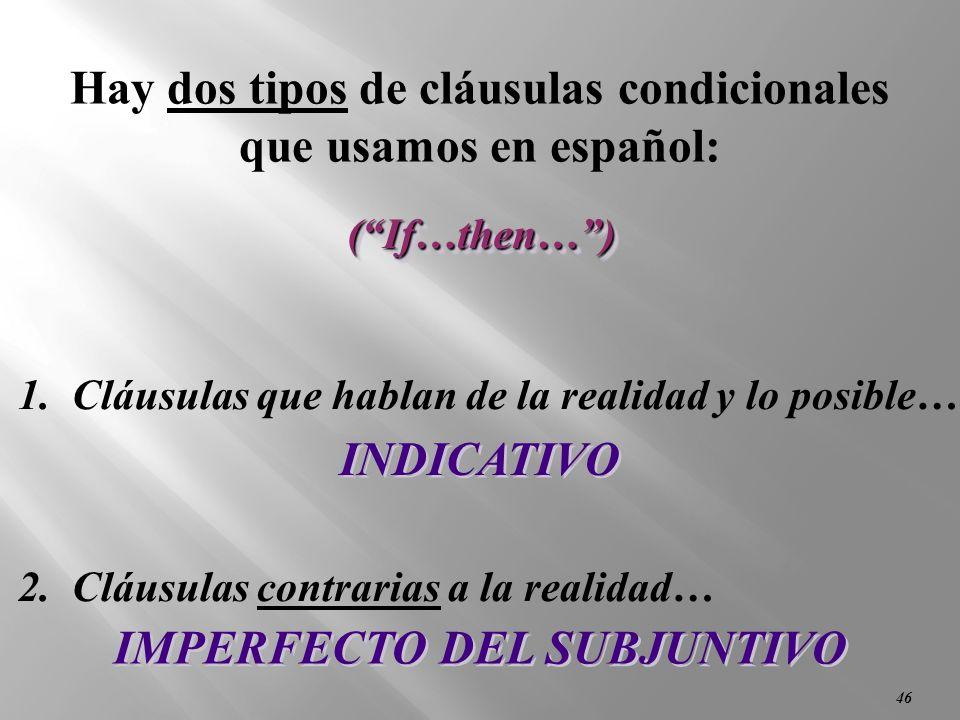 45 Conditional Clauses (Las Cláusulas Condicionales) (Las Cláusulas con si)