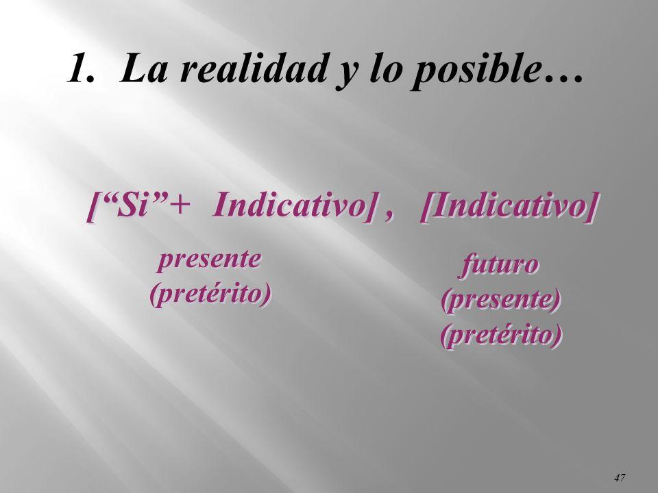 46 Hay dos tipos de cláusulas condicionales que usamos en español: (If…then…)(If…then…) 1. Cláusulas que hablan de la realidad y lo posible… 2. Cláusu