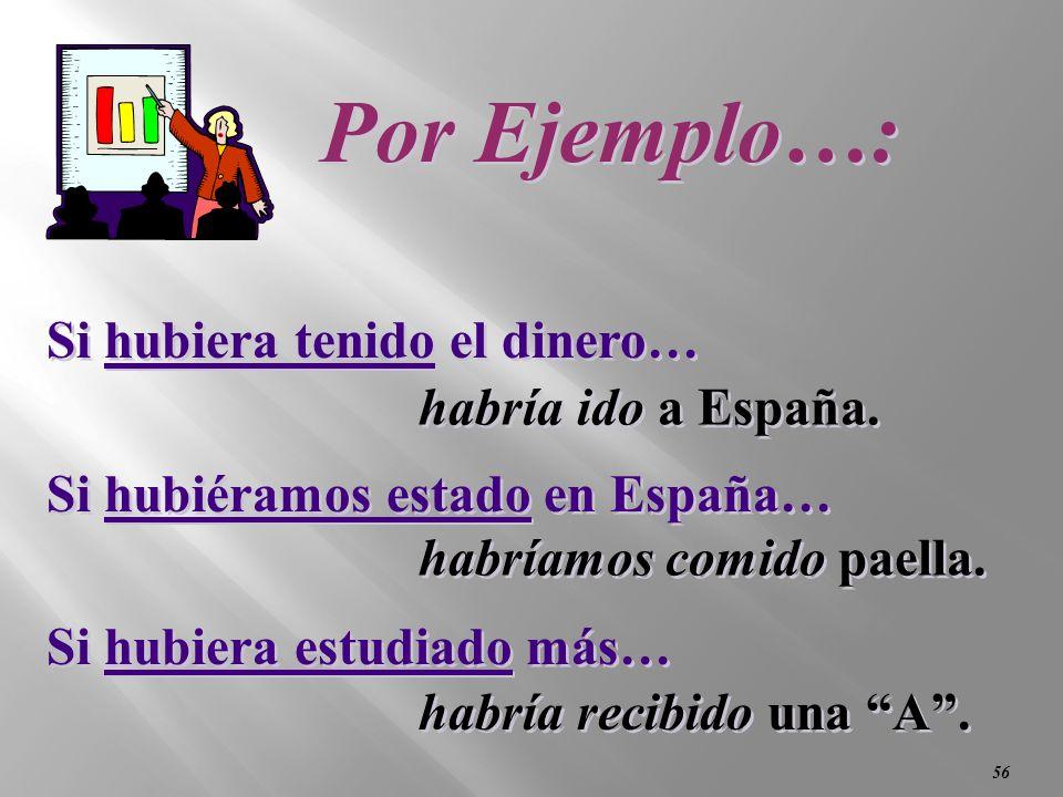 55 2. Contraria a la realidad………en el pasado If I had had the money… (I didnt…) If we had been in Spain… (We werent…) If I had studied more… (I didnt…