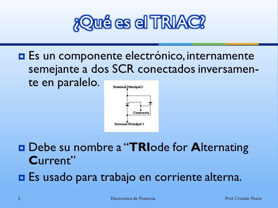 Su simbología, estructura y encapsulados son: Donde A1 y A2, son los ánodos, y G es la puer ta (análoga a la del tiristor) 3Electrónica de PotenciaProf.