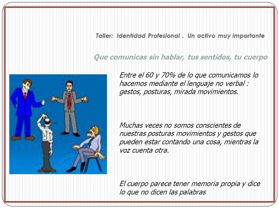 Que comunicas sin hablar, tus sentidos, tu cuerpo Entre el 60 y 70% de lo que comunicamos lo hacemos mediante el lenguaje no verbal : gestos, posturas