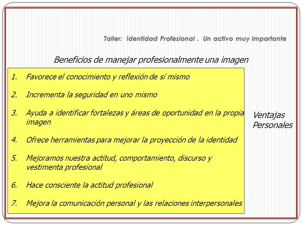 Beneficios de manejar profesionalmente una imagen Ventajas Personales 1.Favorece el conocimiento y reflexión de sí mismo 2.Incrementa la seguridad en