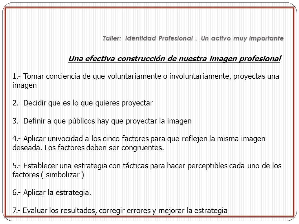 Una efectiva construcción de nuestra imagen profesional 1.- Tomar conciencia de que voluntariamente o involuntariamente, proyectas una imagen 2.- Deci
