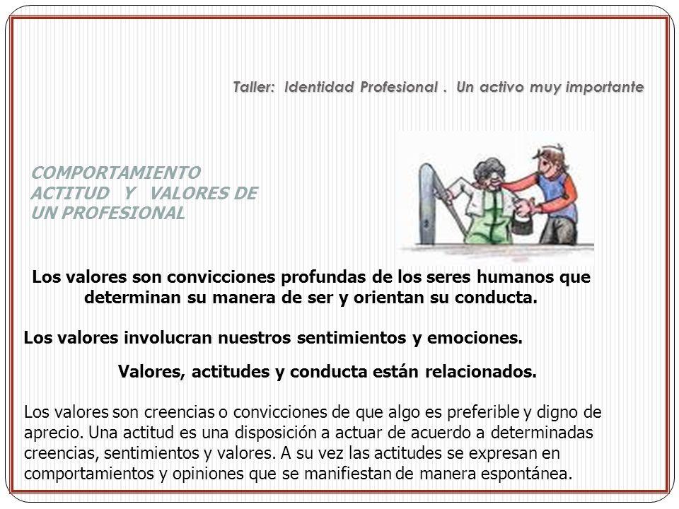 COMPORTAMIENTO ACTITUD Y VALORES DE UN PROFESIONAL Los valores son convicciones profundas de los seres humanos que determinan su manera de ser y orien