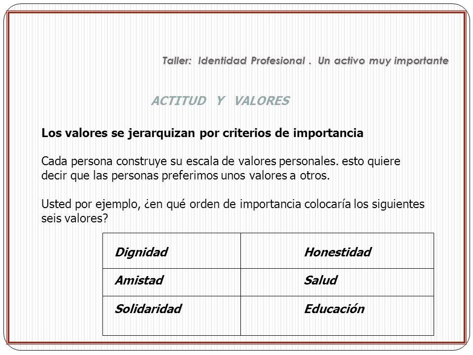 Los valores se jerarquizan por criterios de importancia Cada persona construye su escala de valores personales. esto quiere decir que las personas pre