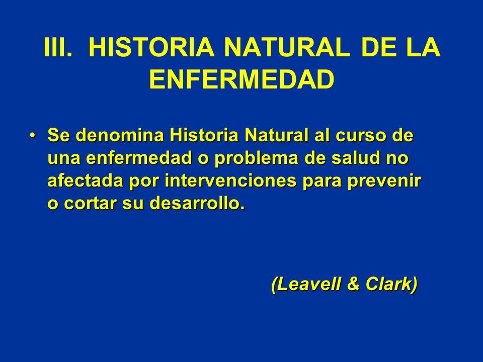 III. HISTORIA NATURAL DE LA ENFERMEDAD Se denomina Historia Natural al curso de una enfermedad o problema de salud no afectada por intervenciones para