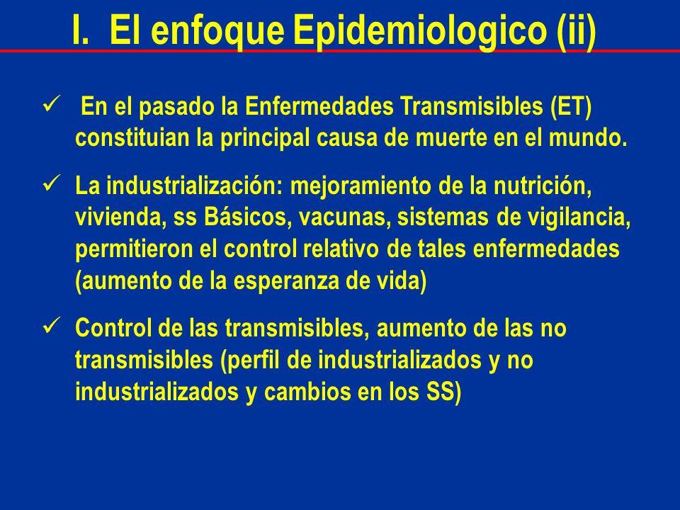 En el pasado la Enfermedades Transmisibles (ET) constituian la principal causa de muerte en el mundo. La industrialización: mejoramiento de la nutrici