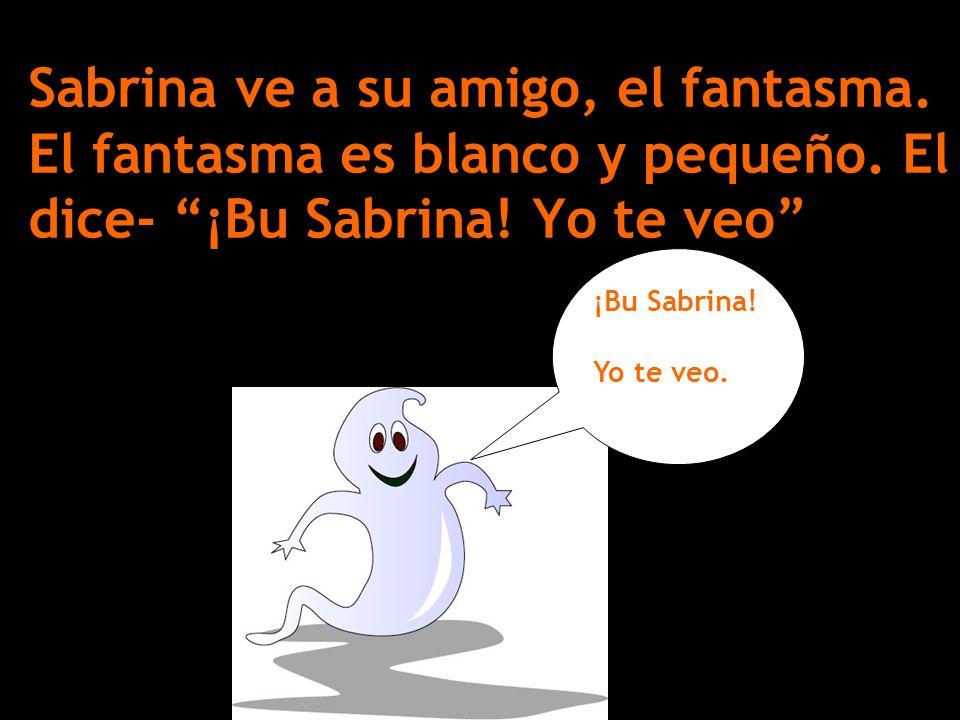 Sabrina ve a su amigo, el fantasma. El fantasma es blanco y pequeño. El dice- ¡Bu Sabrina! Yo te veo ¡Bu Sabrina! Yo te veo.