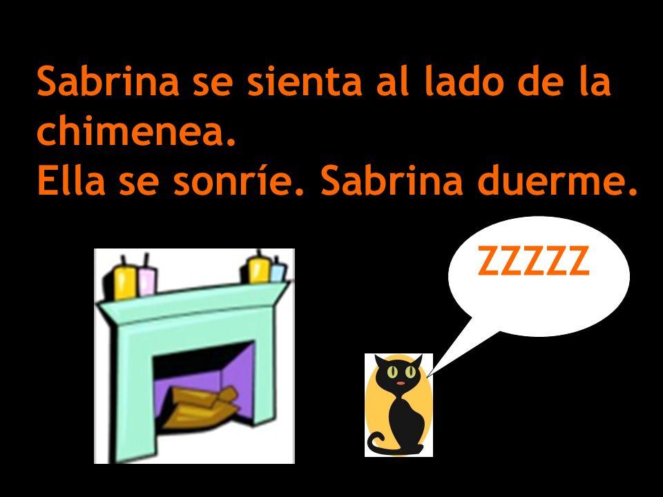 Sabrina se sienta al lado de la chimenea. Ella se sonríe. Sabrina duerme. ZZZZZ