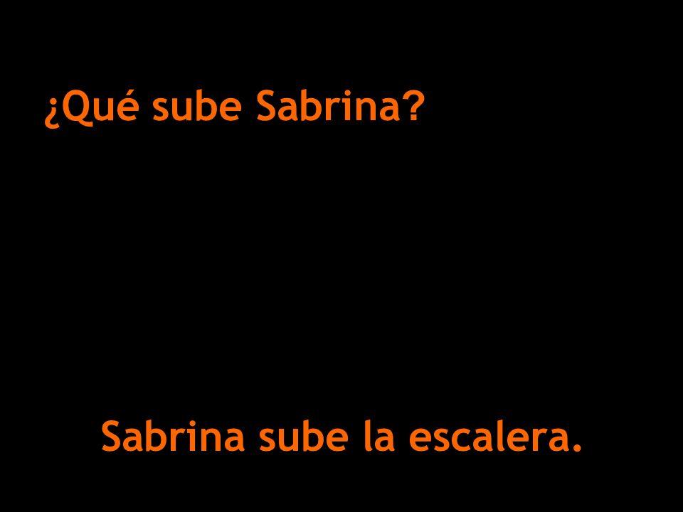 Sabrina sube la escalera. ¿Qué sube Sabrina ?
