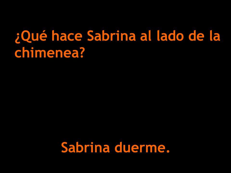 Sabrina duerme. ¿Qué hace Sabrina al lado de la chimenea?