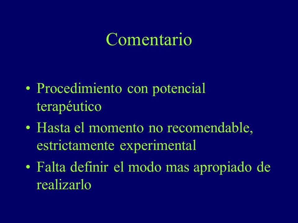 Comentario Procedimiento con potencial terapéutico Hasta el momento no recomendable, estrictamente experimental Falta definir el modo mas apropiado de