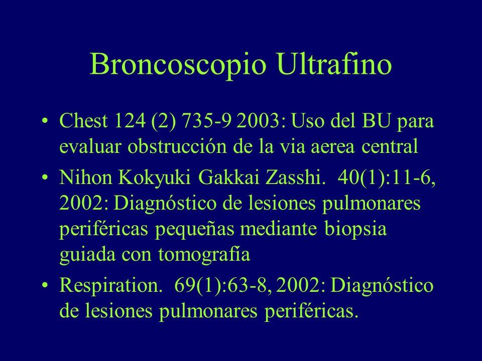 Chest 124 (2) 735-9 2003: Uso del BU para evaluar obstrucción de la via aerea central Nihon Kokyuki Gakkai Zasshi. 40(1):11-6, 2002: Diagnóstico de le